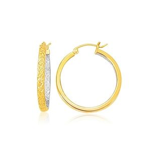 Jewelry - 10k Two-Tone Yellow and White Gold Petite Earrings